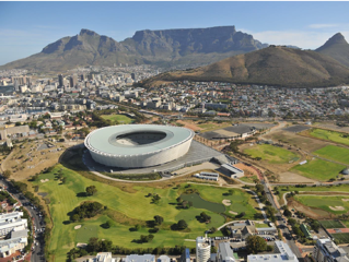 Aerial view of Cape Town with Green Point stadium in the foreground