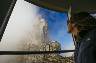 heading up Table Mountain in the cable car